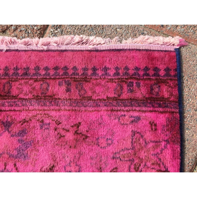 Hot Pink Overdyed Runner Rug - Image 7 of 9