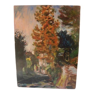 1970s Impressionist Style French Provencial Landscape Oil Painting For Sale