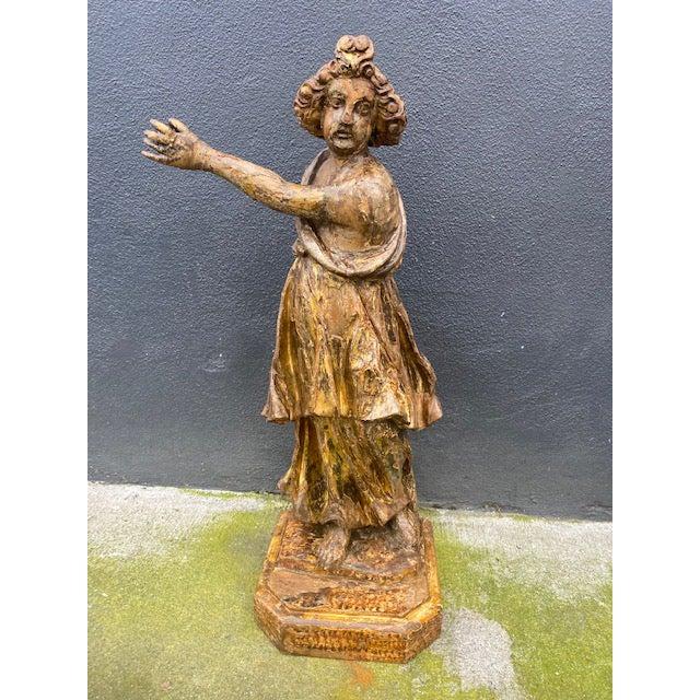 18th Century Italian Giltwood Figure For Sale - Image 13 of 13
