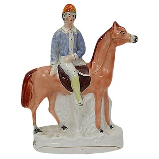 Antique Victorian Staffordshire Horse & Jockey For Sale