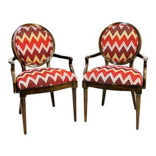 Contemporary Dramatic Herringbone Print Accent Chairs - a Pair For Sale