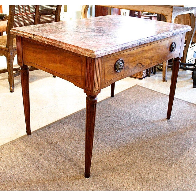 18th Century Italian Neoclassical Inlaid Marble Top Console For Sale - Image 6 of 10