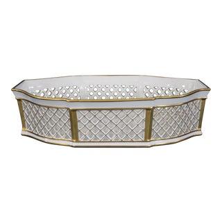 Jammet Seignolles Limoges, France Porcelain Open Work Centerpiece with Gold Trim