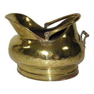 Antique Large Brass Coal Scuttle For Sale