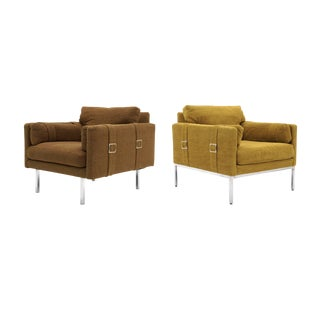 Original Complimenting Pair of Milo Baughman Lounge Chairs For Sale