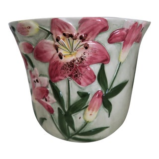 Hand Painted Lilies Planter From Portugal For Sale