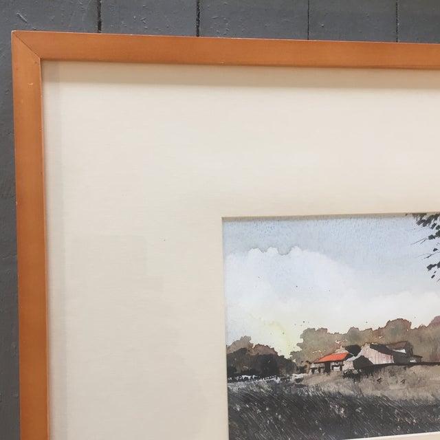 Vintage Original Watercolor Landscape W/ Cows Painting For Sale - Image 5 of 7