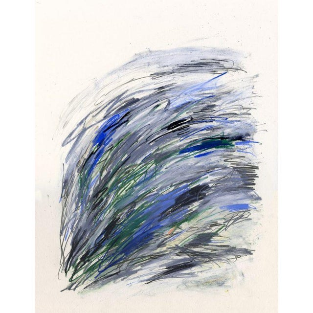 Earthy greens, electric blues, and warm greys in a controlled dynamic. Reminescent of modern masters such as Joan Mitchell...