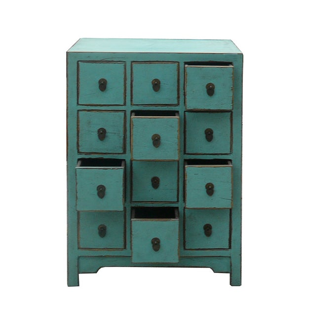 Chinese Rustic Turquoise Cabinet Side Table For Sale - Image 4 of 4
