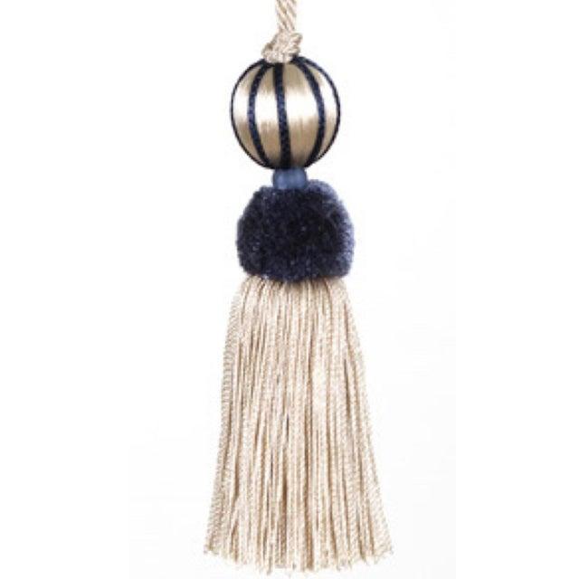 Boho Chic Marine Blue & Cream Beaded Key Tassel - H 4.5 - Inches For Sale - Image 3 of 8