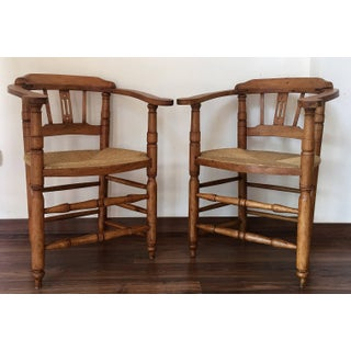 Pair of Spanish Horseshoe Back and Cane Armchairs Preview