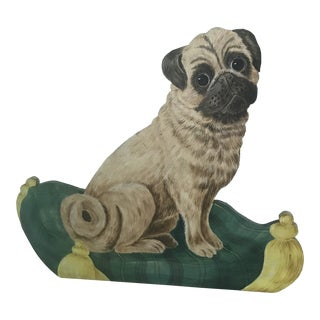 Pug Dog Oil on Wood Dummy Board Silent Companion For Sale
