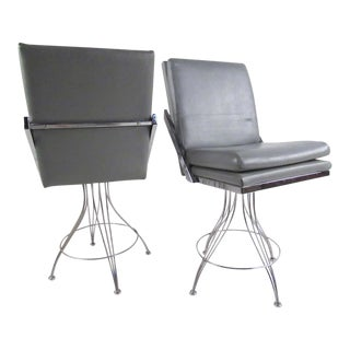 Pair of Modern Swivel Counter Stools For Sale