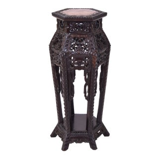 Antique Chinese Export Carved Rosewood & Marble Plant Stand For Sale