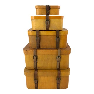 Collection of 5 Vintage Stacked Graduated Bentwood and Leather Suitcases For Sale