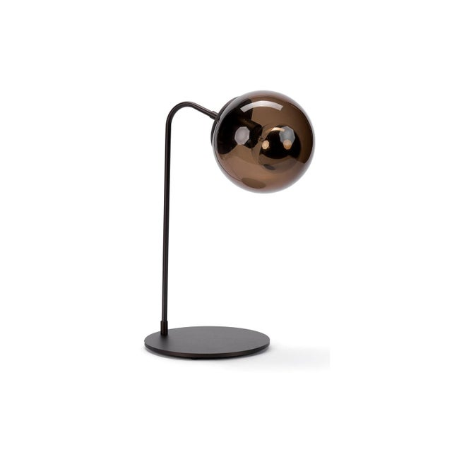 2010s Roll & Hill Oil Rubbed Bronze With Smoke Glass Shade Table Lamp For Sale - Image 5 of 5