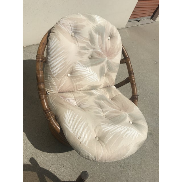 Vintage 60s Rattan Papasan Swivel Rocking Chairs & Table - Set of 3 For Sale - Image 9 of 9