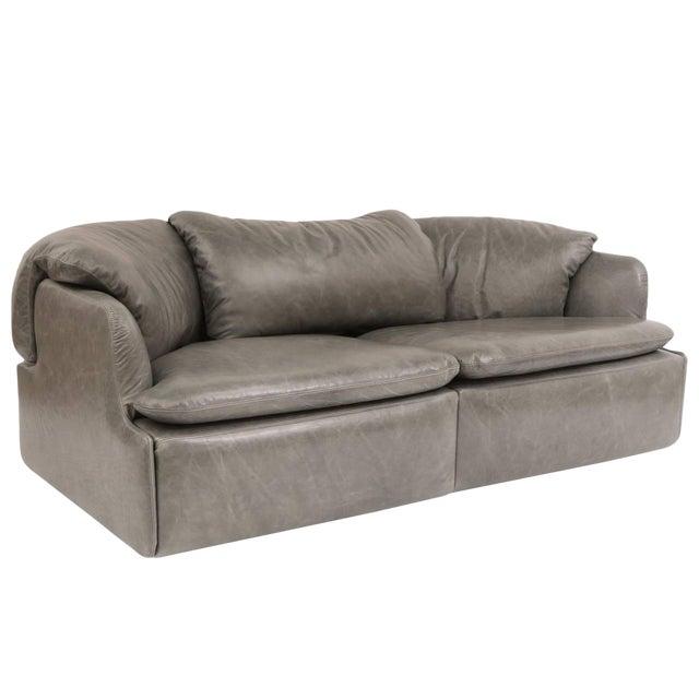 1970s Alberto Rosselli for Saporiti Leather Sofa For Sale