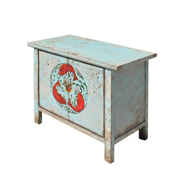 2010s Chinese Distressed Light Pale Blue Fishes Graphic Table Cabinet For Sale - Image 5 of 8