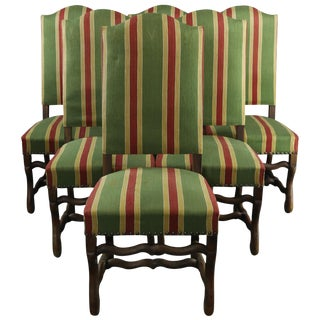 Dining Chairs French Sheepbone Set 6 Red Green For Sale