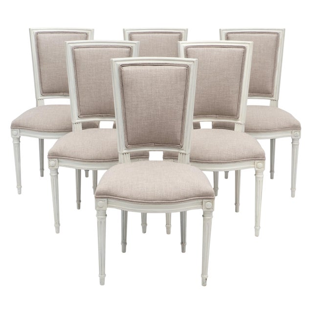 Louis XVI Style Painted Dining Chairs - Set of 6 For Sale