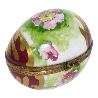 Vintage Limoges France Hand Painted Egg Box For Sale