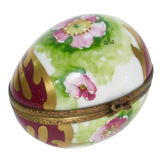 Vintage Limoges France Hand Painted Egg Box For Sale