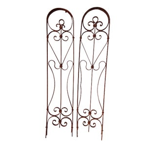 Antique Pair Rustic Shabby Wrought Iron Fleur De Lys Motif Wall Hanging Panels For Sale