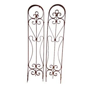 Antique Rustic Shabby Wrought Iron Fleur De Lys Motif Wall Hanging Panels - a Pair For Sale