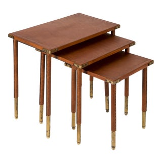 Nesting Tables in Stitched Leather by Jacques Adnet - Set of 3 For Sale