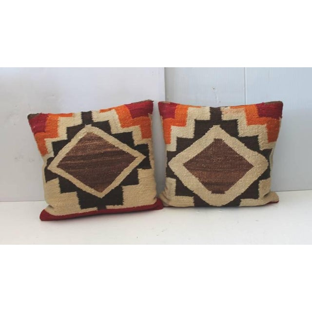 Navajo Pair of Early Navajo Indian Weaving Pillows For Sale - Image 3 of 5