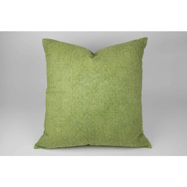 Hand Applique Green Pillow - Image 3 of 8