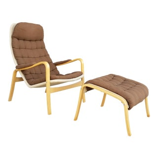 "Vintage 1960's Bruno Mathsson for Dux ""Ingrid"" Chair & Ottoman"