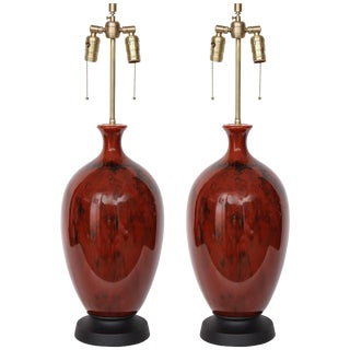 1960s Italian Mid-Century Bloodstone Glazed Lamps - a Pair For Sale