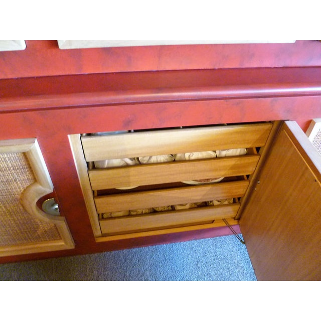 1940s Antique Paul Laszlo Style Faux Red Leather Finished Buffet / Breakfront For Sale - Image 10 of 13