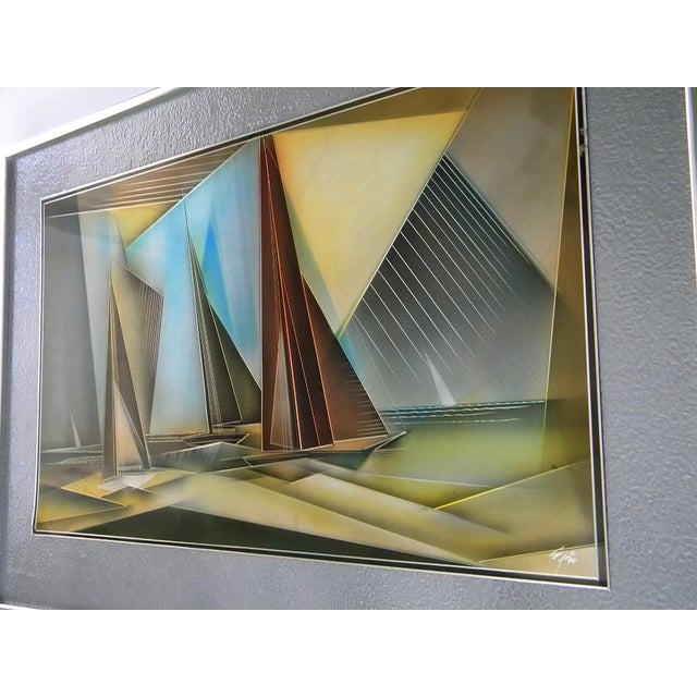 Abstract 1976 Tom Gall San Francisco Bay Aluminum Etched and Airbrushed Painting For Sale - Image 3 of 10