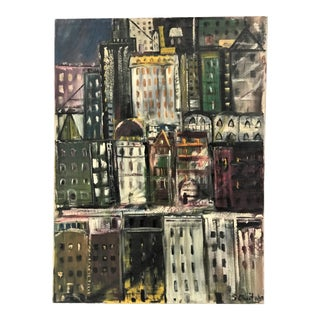 Large Expressionist New York City Cityscape Painting by Sonia Chaitin, 1959 For Sale