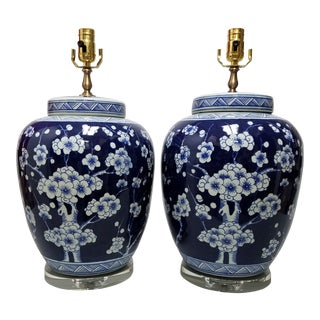 Chinese Blue & White Hawthorne Blue Porcelain Table Lamps - a Pair For Sale