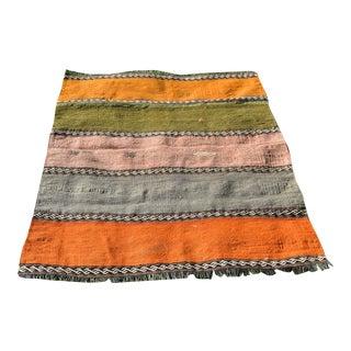 1970s Vintage Turkish Kilim Handmade Wool Rug - 3′4″ × 4′3″ For Sale