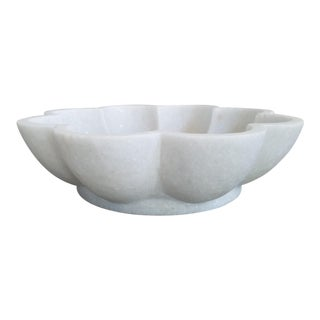 White Marble Petal Bowl For Sale