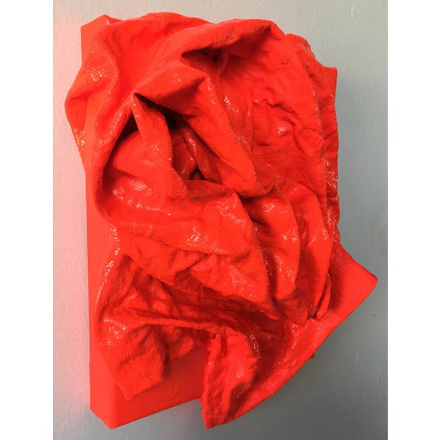 """Contemporary """"Fluorescent Grenadine Folds"""" Mixed Media Wall Sculpture For Sale - Image 3 of 8"""
