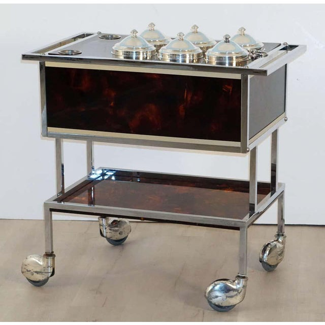 Italian Italian Chrome and Faux Tortoise Ice Cream Cart For Sale - Image 3 of 13
