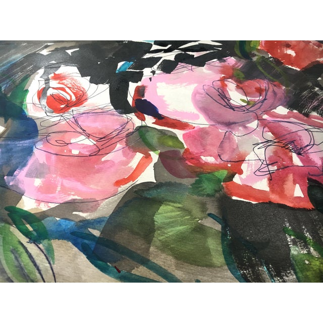 Jenny Vorwaller Red Roses Watercolor Painting - Image 2 of 4