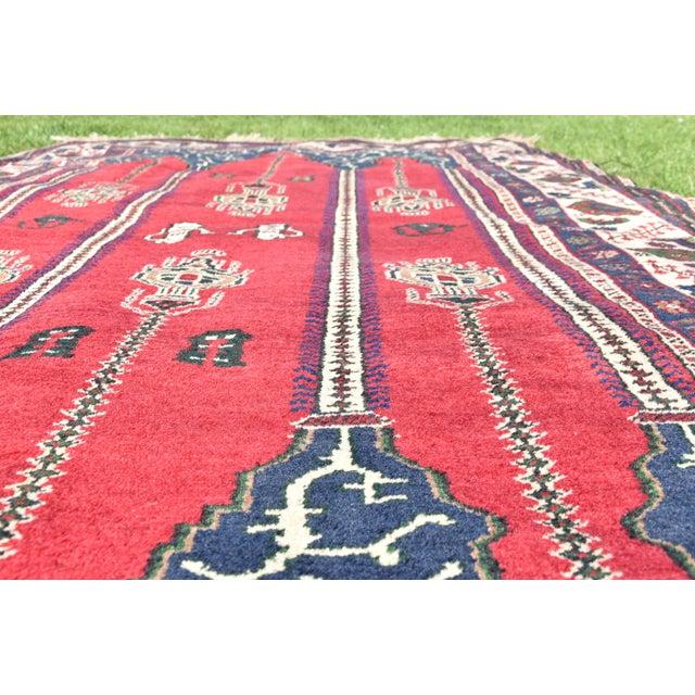Red Turkish Vintage Oriental Design Red-Blue Color Carpet - 4x8.5 For Sale - Image 8 of 12