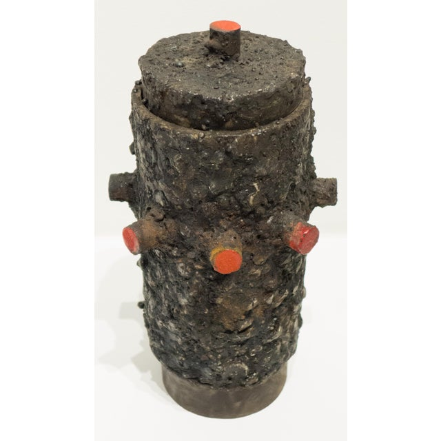 Brutalist Cylindrical Vessel by James Bearden For Sale - Image 3 of 6