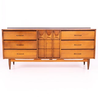 Mid Century Kent Coffey Perspecta Style Walnut and Brass 9 Drawer Lowboy Dresser Preview