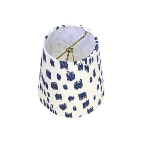 New, Made to Order, Drum Chandelier or Sconce Shades, Brunschwig & Fils Les Touches Blue Animal Print Fabric - Image 1 of 3