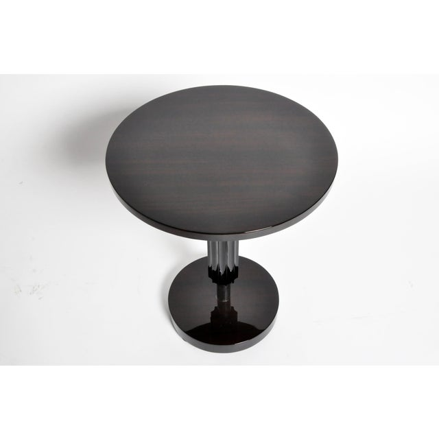 2010s Art Deco Style Round Table with Metal Post For Sale - Image 5 of 11
