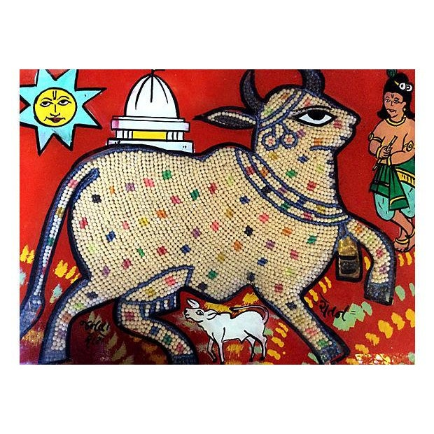 Beaded Indian Églomisé Cow Painting - Image 2 of 7