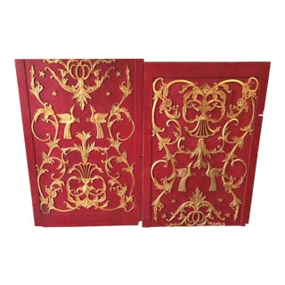 Antique Carved Gilded Chinoiserie Panels - Set of 2 For Sale